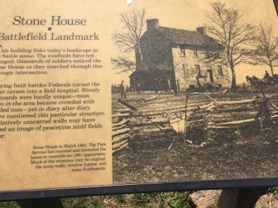 A sign on Historic Stone House, Manassas, VA