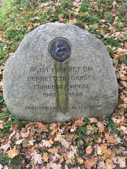 Memorial stone from the place where many Danish resistance fighters were executed