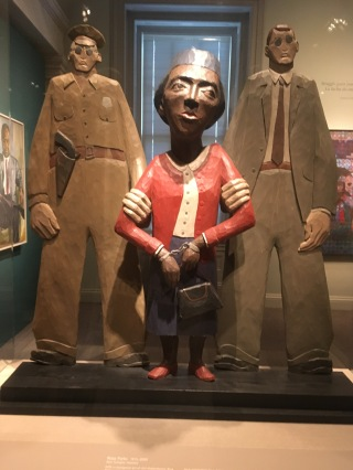 A piece of art from the National Portrait Museum in D.C. on Rosa Parks being arrested