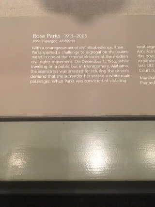 Rosa Park (1913-205) courageous act of civil disobedience by not giving her bus seat to a white male