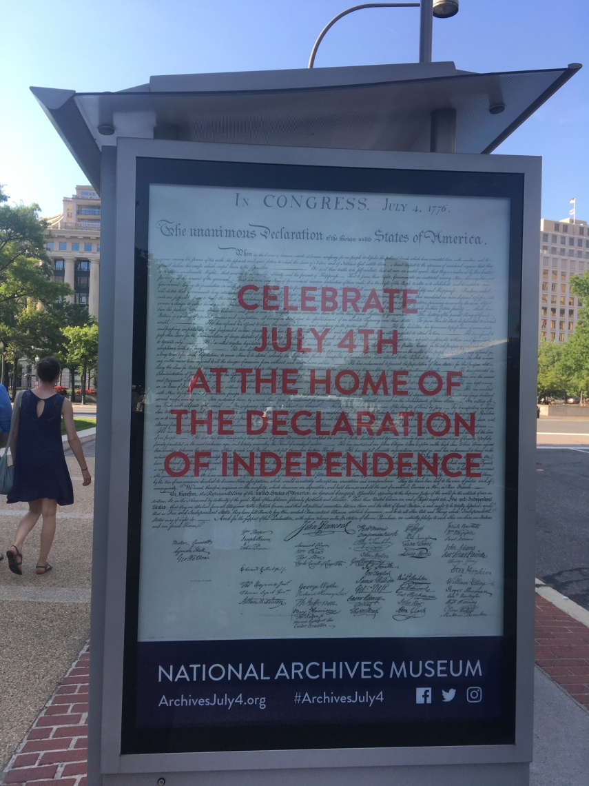 An advertisement in D.C. to visit the National Archives