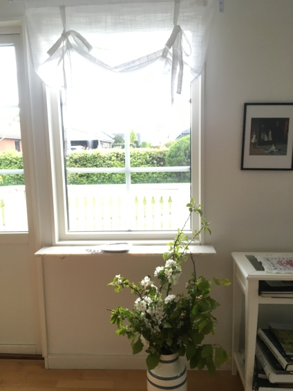 Newly painted walls, new curtains and apple blossom