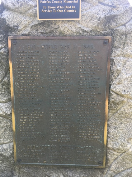 A copper WWII Memorial plate at the historic Fairfax County Courthouse