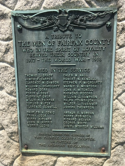 A copper WWI Memorial plate at the historic Fairfax County Courthouse