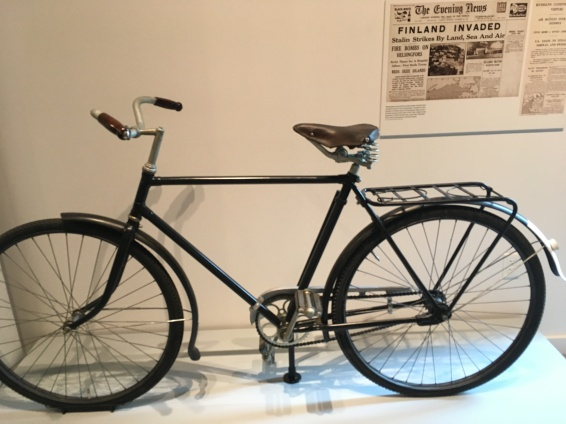 A young Finnish teenager escaped the Red Army in 1944 on his bicycle on display at the museum.