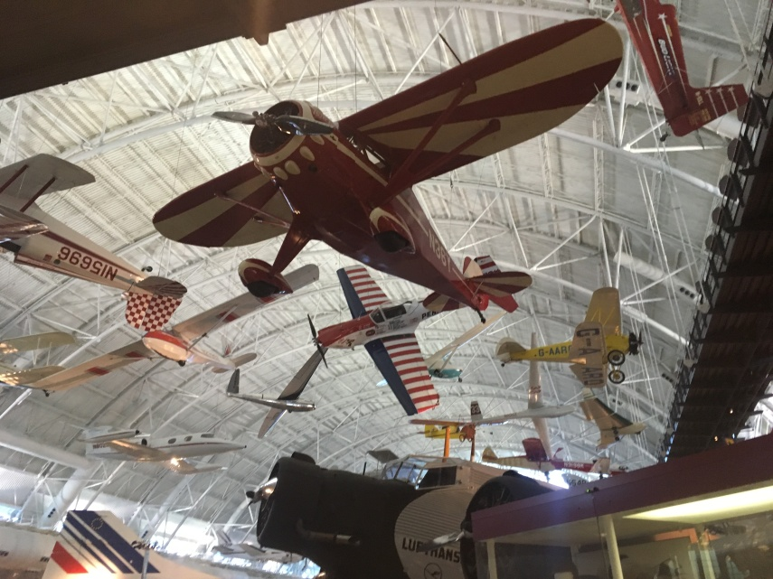 A view into the ceiling of the Air and Space Museum