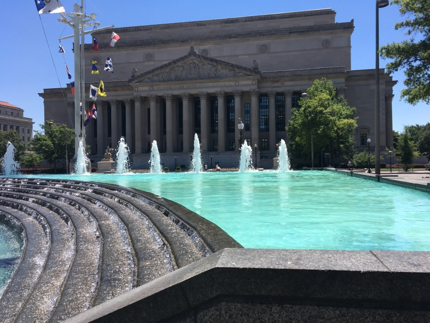 The backside of the National Archives Museum at Constitution Avenue between 7th and 9th Streets
