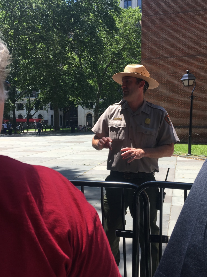 A Park Ranger instructs us about the historical site