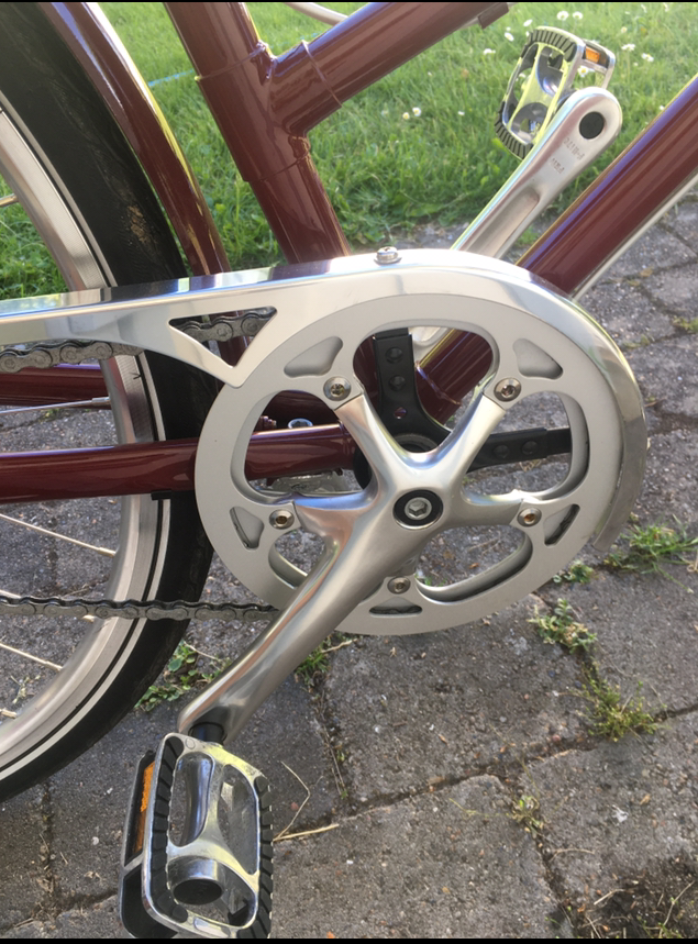 The crank and pedals on the bike