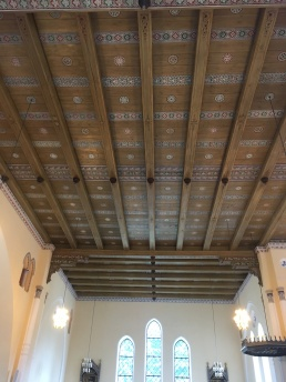 The wooden roof of the church