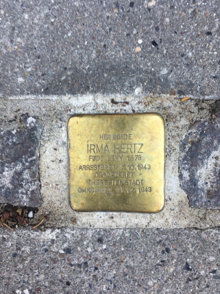 Stumblestone for Irma Hertz born 1878. arrested in October 1943. Deported to Theresienstadt and died there in November 1943